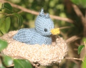 Knitted Hatching Baby Blue Bird and Nest Toy set - Amigurumi Doll - Knit bird and nest