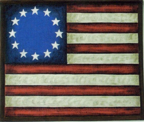Vintage Rustic Primitive AMERICAN FLAG Sign By Carolalden