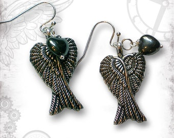 Winged Heart Steampunk Earrings - Za Dee Da - The Time Traveller Collection - Love Enfolded