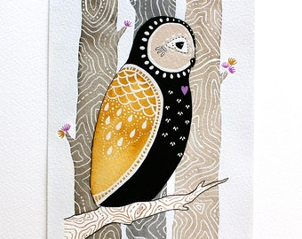 Original Owl Illustration Painting - Watercolor Art - Little Love Owl, Maho- Words of Wisdom Illustration Series
