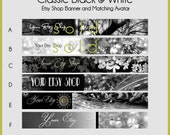 Premade Shop Banner and Avatar Graphic Design Package Classic Black and White Elegant