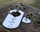 I carry your heart with me / Home is where my heart is - Stainless Steel Dog tag & heart necklace set - MADE TO Order