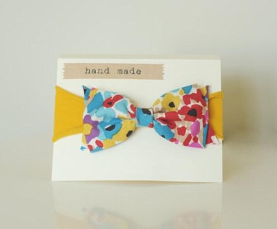 Fall headband-floral print bow on mustard yellow headband