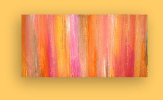 """Coral Original Acrylic Abstract Painting Fine Art on Gallery Canvas Titled: CORAL SUNSET 24x48x1.5"""" by Ora Birenbaum"""