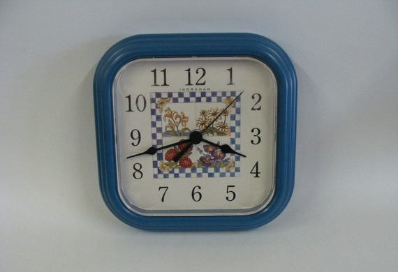 Vintage Quartz Blue Square Wall Clock by Ingraham, Kitchen Decor Wall Clock, Blue Plastic Wall Clock