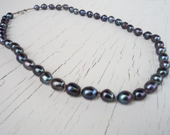 Pearl Necklace, Peacock Blue Hand Knotted Pearl Necklace, Classic Pear Strand, Freshwater Pearls, Blue Metallic, Traditional Jewelry