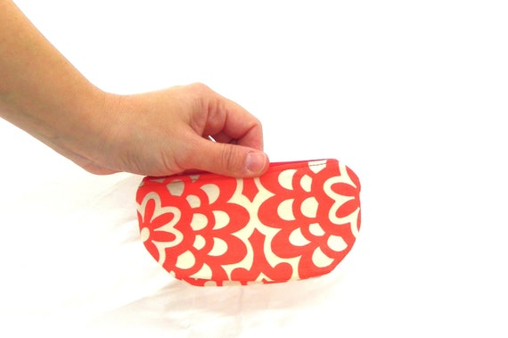 Orange Change Purse, Red Coin Purse, Change Wallet, Small Cosmetic Pouch, Small Make up Pouch