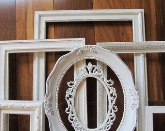 Seven Ornate Shabby Chic Antique White Frames