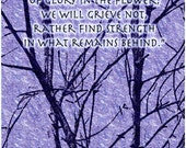 Art Greeting Card - Famous Wordsworth Quotation about Memories -  trees branches periwinkle blue