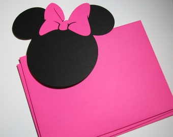 "DIY Invitation Kit - 30 pack -5"" Minnie Mouse ears with a HOT PINK bow & matching Envelopes"