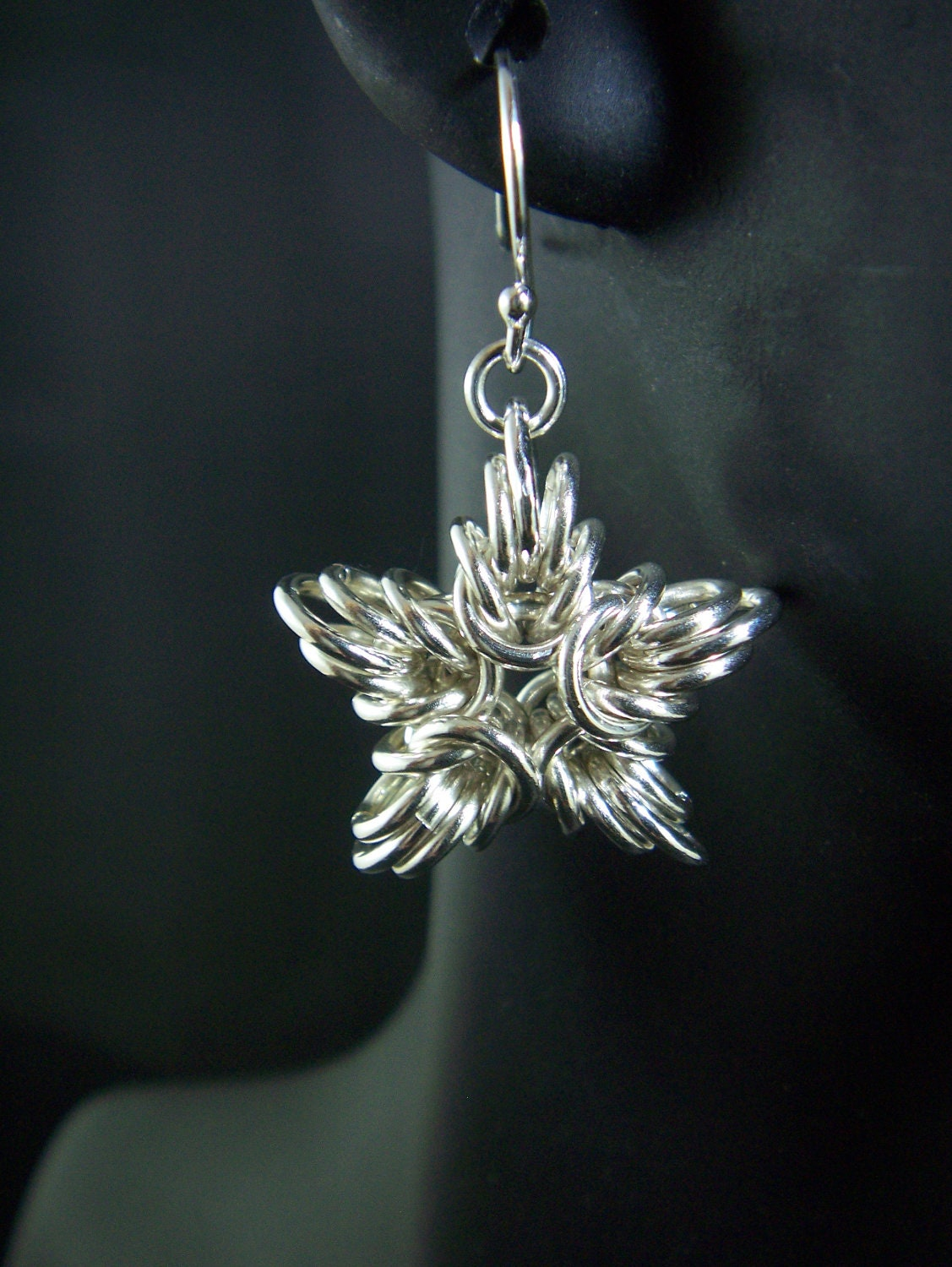 Sterling Silver Chainmaille Star Earrings