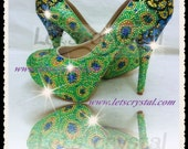 New Women High Heel Swarovski Crystals Peacock Leather Wedding prom Party Shoes