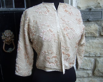 1950s Cashmere Opulent Beaded & Sequined Lace Cardigan