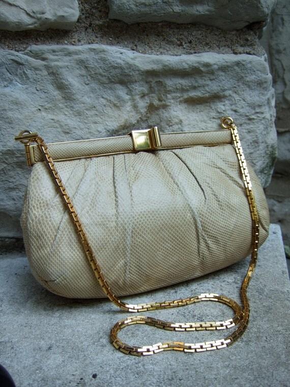 JUDITH LEIBER Elegant Vintage Embossed Leather Handbag c 1980