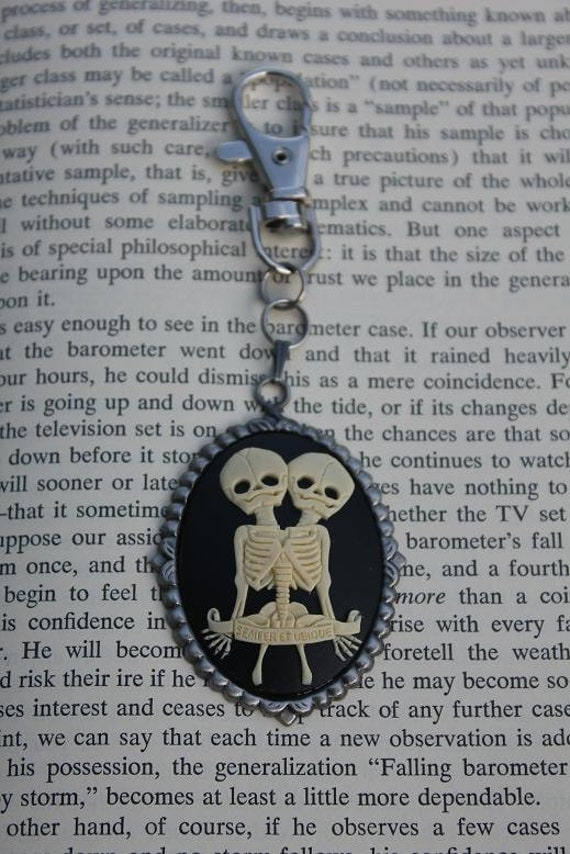 White On Black Conjoined Twins Cameo Keychain