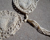 Boho Tan Crochet Bikini Halter Top with Fringe