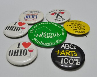 Vintage Advertising Button Pins - set 8