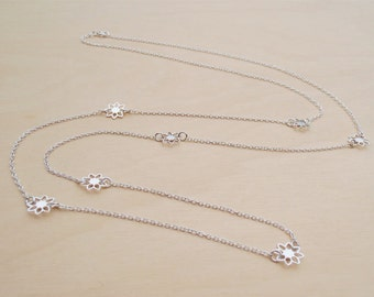 Long Silver Daisy Chain Necklace - Sterling Silver