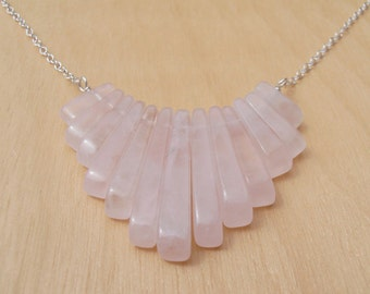 Rose Quartz & Silver Fringe Necklace - Sterling Silver