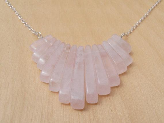 Rose Quartz & Silver Fringe Necklace - Sterling Silver