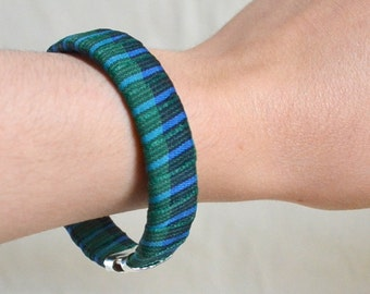 Handmade Ribbon Bangle Bracelet Cuff NEW & Repurposed Blue Green Plaid. Unique. Rockabilly Punk Slip on OOAK Gift Ready to Ship Eco Friendly