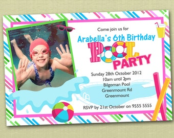 Photo Personalised Pool Party Birthday Invitations - You Print