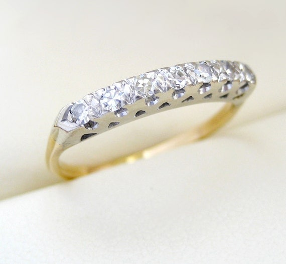 Vintage Deco Diamond Engagement Anniversary Ring Yellow and White Gold SALE