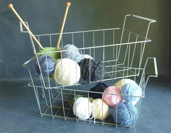 Vintage wire baskets - set of two metal storage baskets