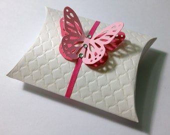 Pillow gift box, Favor Box, Swarovski Crystals and Butterfly - for Wedding or any other party or shower