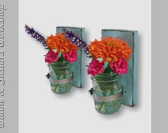 Wall Sconce Mason Jar Vase mason jar sconce Shabby Chic Turquoise