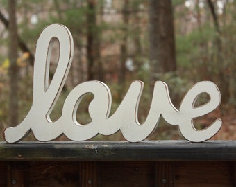 love sign home decor wooden sign rustic wooden sign white love sign
