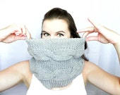 Infinity Scarf: hand knit grey double cable chunky scarf, unisex, cowl, hood, warm, snuggly, loop scarf, circle scarf