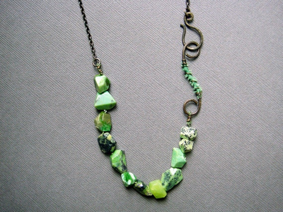 SALE!!!! ==> Lime-green Agate with Distressed Metal Clasp and Oxidized Chain