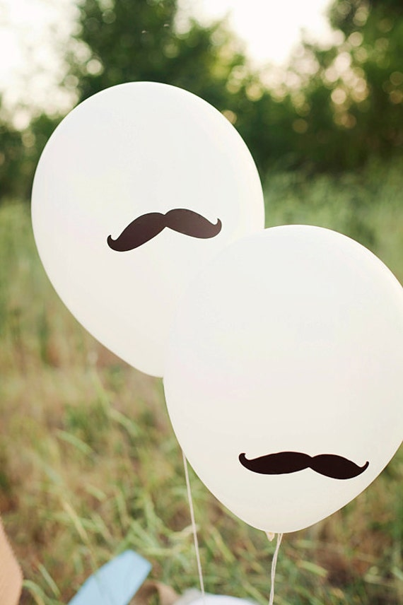 RESERVED FOR ANGELA - Mustache Party Balloons - Set of 10