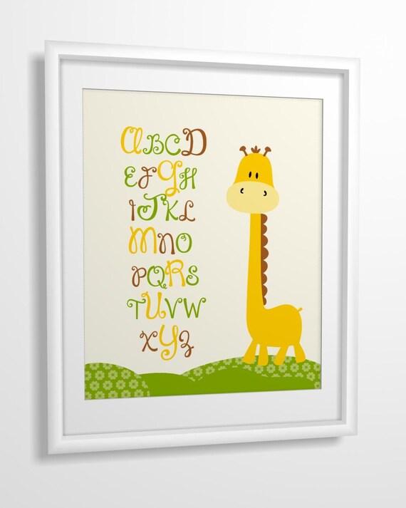 Nursery art, Kids art, Nursery wall art, baby nursery art, Giraffe, Alphabet - 8x10 PRINTABLE