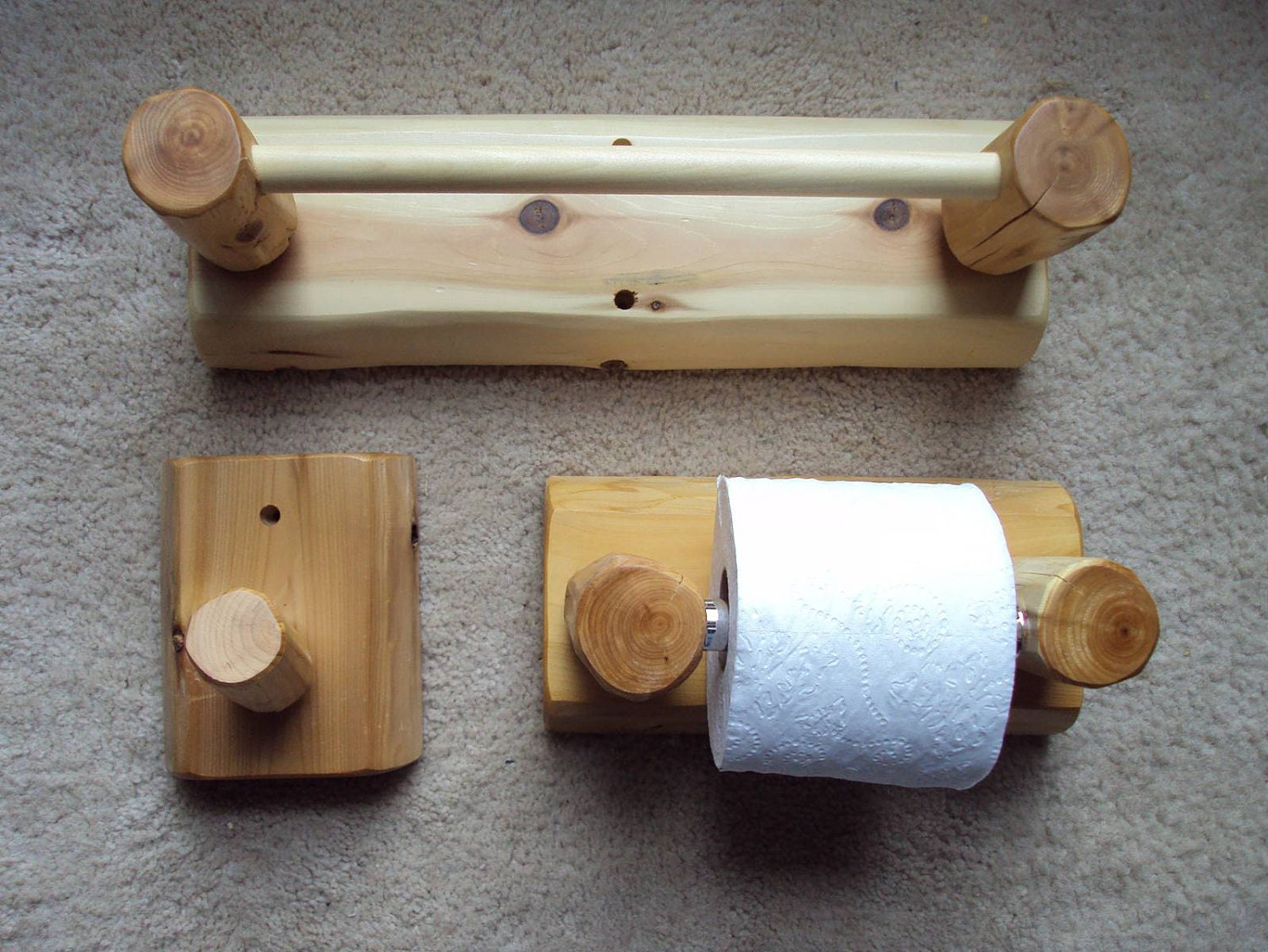 Rustic Bathroom Towel and Toilet Paper Holder