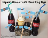 Hispanic Women Fiesta Flag Tags for Straws or Favors