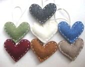 Felt ornament set - Heart Christmas ornament handmade felt ornament recycled materials
