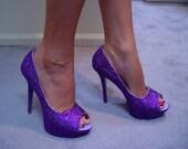 Hand Made Womens Christian Louboutin Style Deep Purple MINI Rhinestone Peep Toe High Heel Shoes