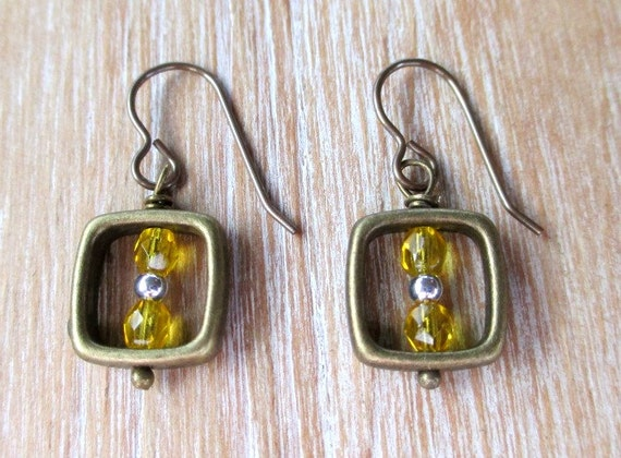 Citrine Brass Square Rustic Earrings with Silver and Crystal Beads