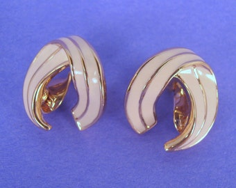 Monet Goldtone and Cream Enamel Earrings Spring Clip Backs