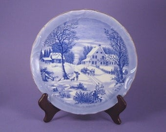 """Plate, Currier and Ives  """"The Homestead in Winter"""", Collectible Plate, Christmas Present, Hostess Gift, Cookie Plate, American Artist"""
