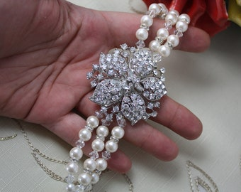 Fresh Bloom Swarovski crystal and pearl bridal bracelet