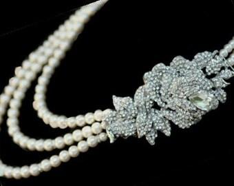 LaRosa Bella Swarovski crystal multiple  strand pearl necklace