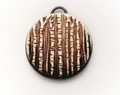 Through The Trees Brown and White Ombre Polymer Clay Pendant