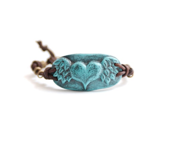 If My Heart Had Wings Bracelet- Polymer Clay and Knotted Leather with Vintage Brass Bracelet