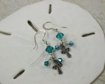 SALE Cross Earrings, Silver Cross, Turquoise Crystal Earrings
