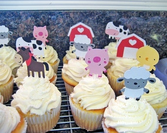 24 Farm Animal Cupcake Toppers, farm birthday, barnyard birthday, farm decor, first birthday, barnyard decor, paper goods, cow pig sheep