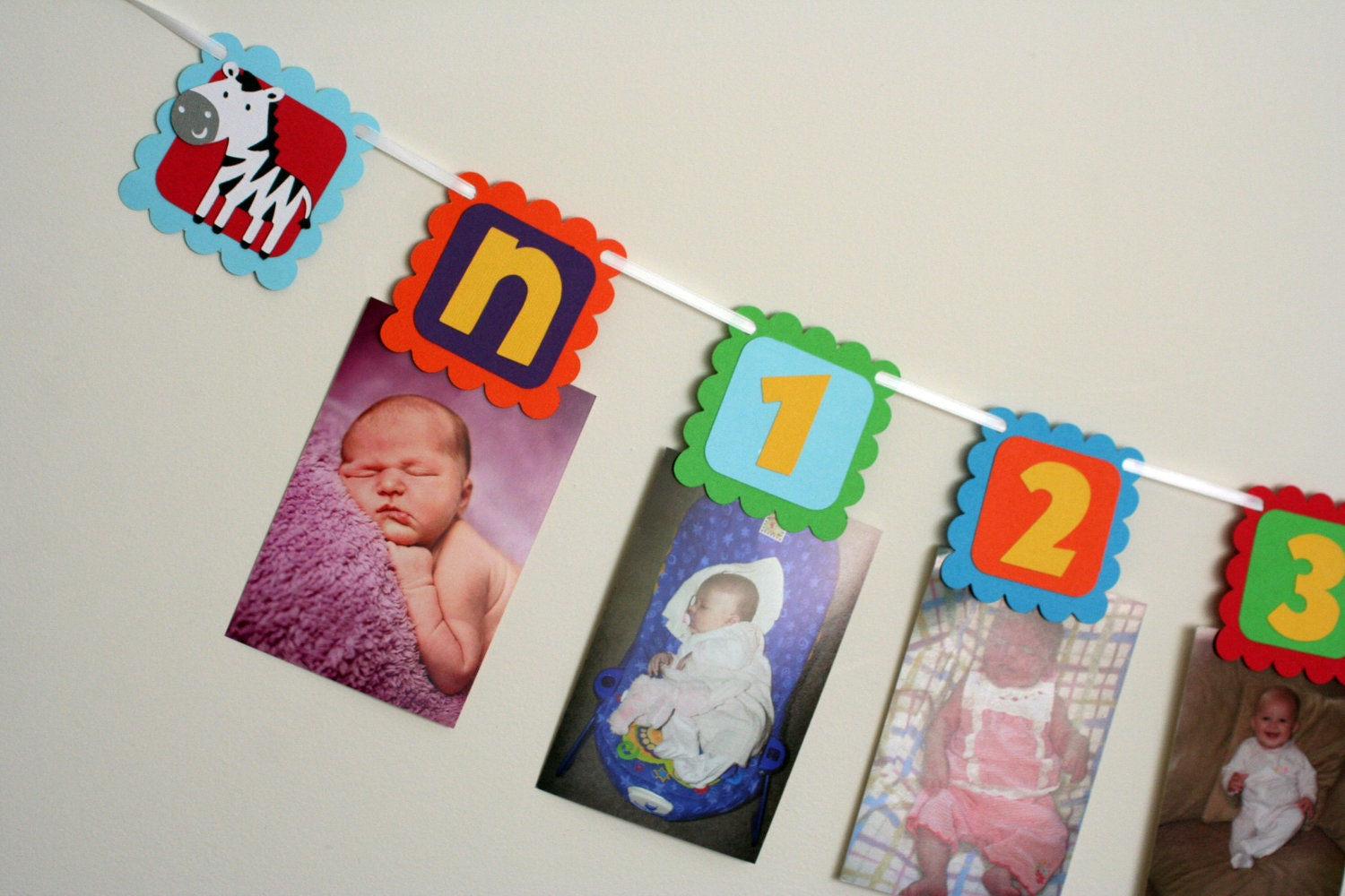 jungle or circus animal first year photo banner first