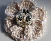 Flower Hair Bobble: white, cream / oatmeal crocheted flower hair bobble